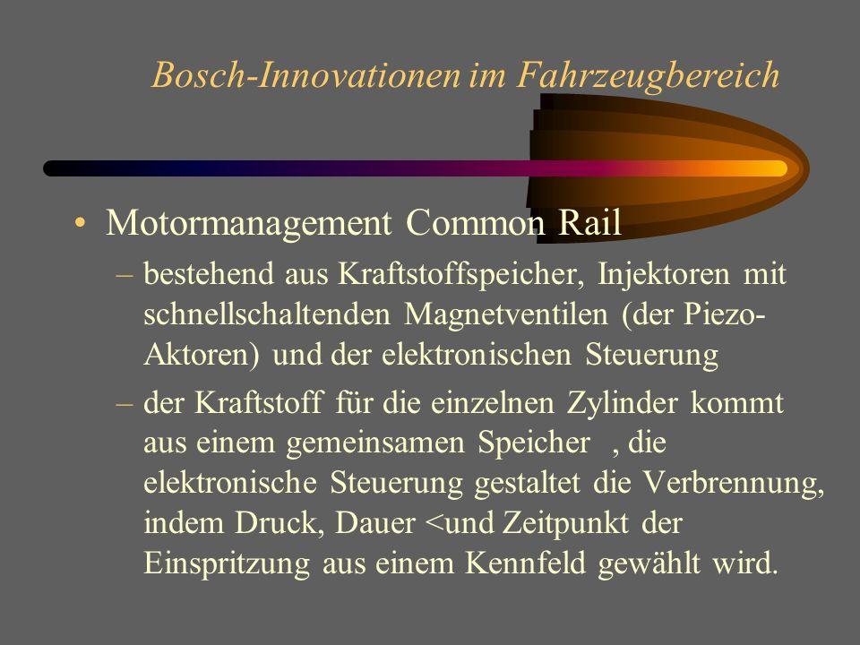 Bosch-Innovationen im Fahrzeugbereich