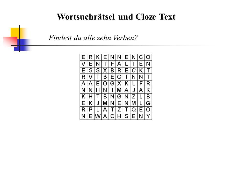 Wortsuchrätsel und Cloze Text