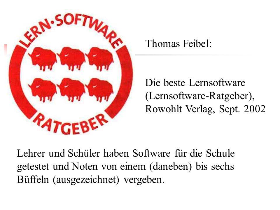 Thomas Feibel: Die beste Lernsoftware (Lernsoftware-Ratgeber), Rowohlt Verlag, Sept. 2002.