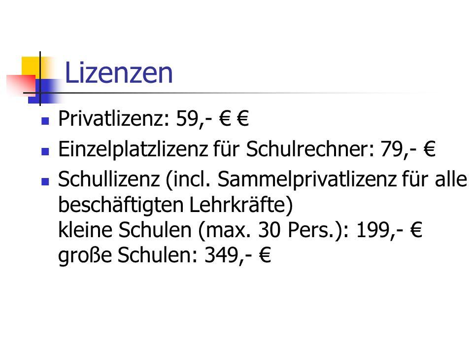 Lizenzen Privatlizenz: 59,- € €