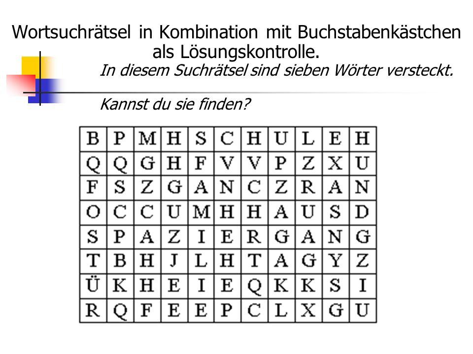 Wortsuchrätsel in Kombination mit Buchstabenkästchen als Lösungskontrolle.