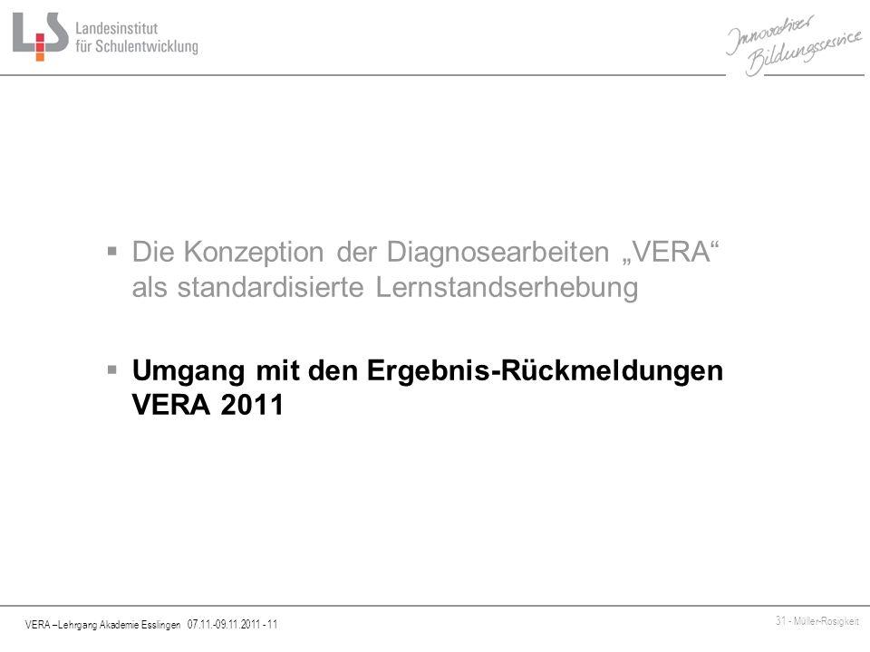 """Die Konzeption der Diagnosearbeiten """"VERA als standardisierte Lernstandserhebung"""