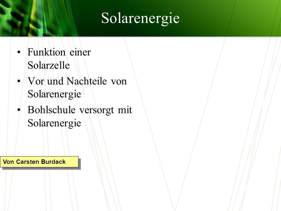Solarenergie Funktion einer Solarzelle