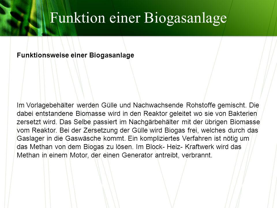 Funktion einer Biogasanlage