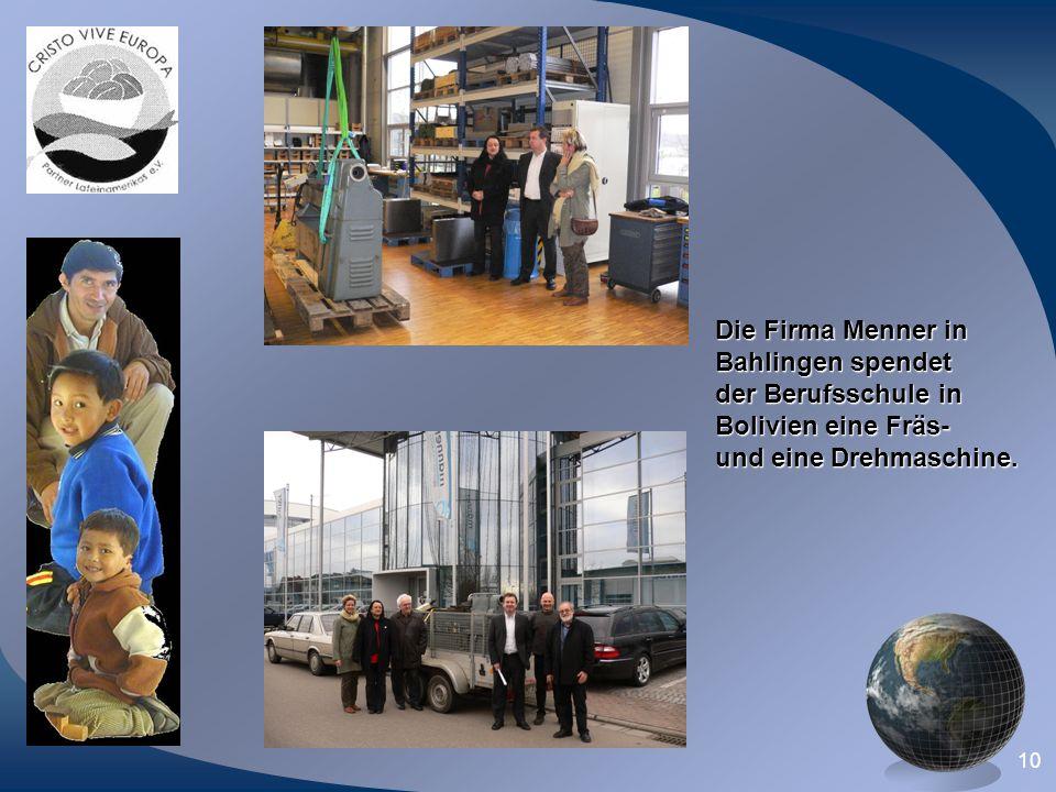 Die Firma Menner in Bahlingen spendet. der Berufsschule in.