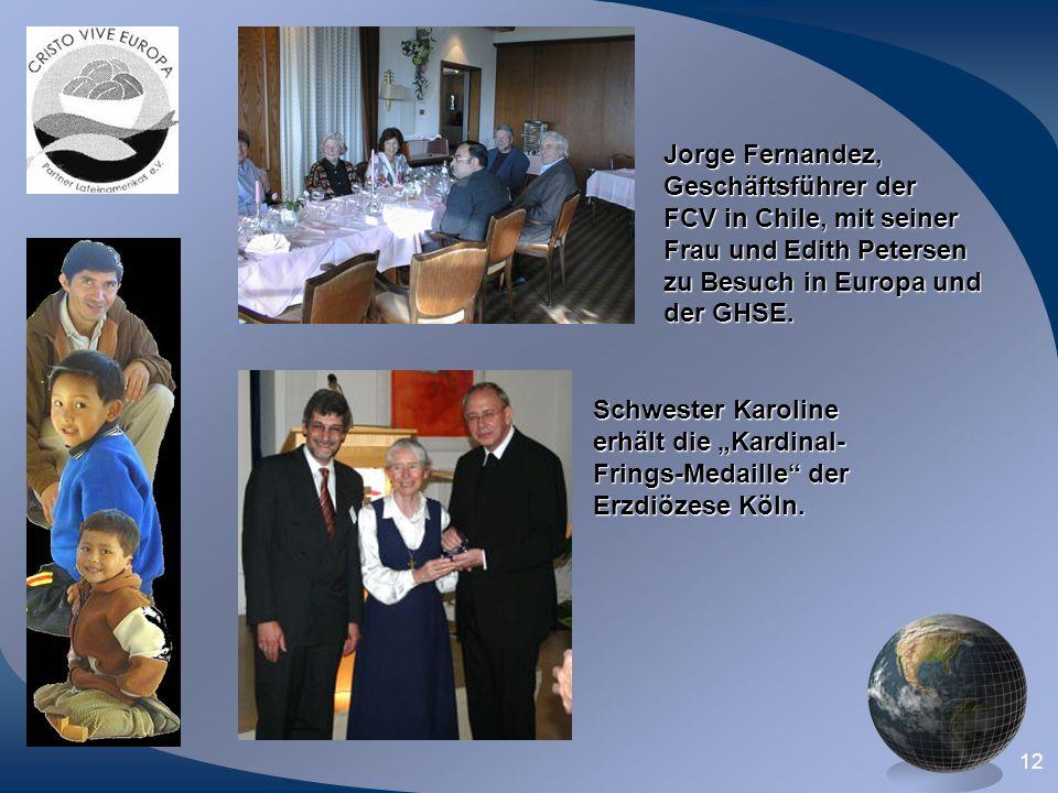 Jorge Fernandez,Geschäftsführer der. FCV in Chile, mit seiner. Frau und Edith Petersen. zu Besuch in Europa und.