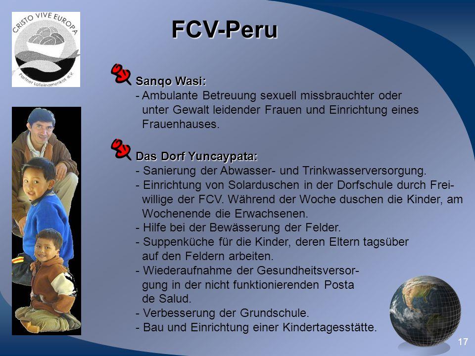 FCV-Peru Sanqo Wasi: Ambulante Betreuung sexuell missbrauchter oder