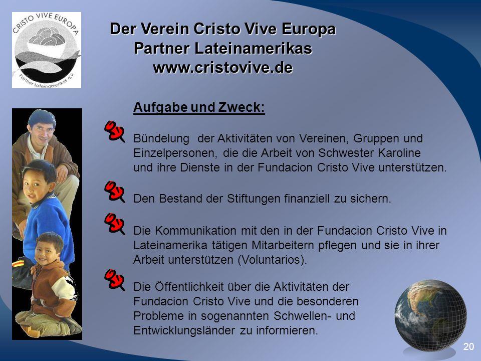 Der Verein Cristo Vive Europa Partner Lateinamerikas