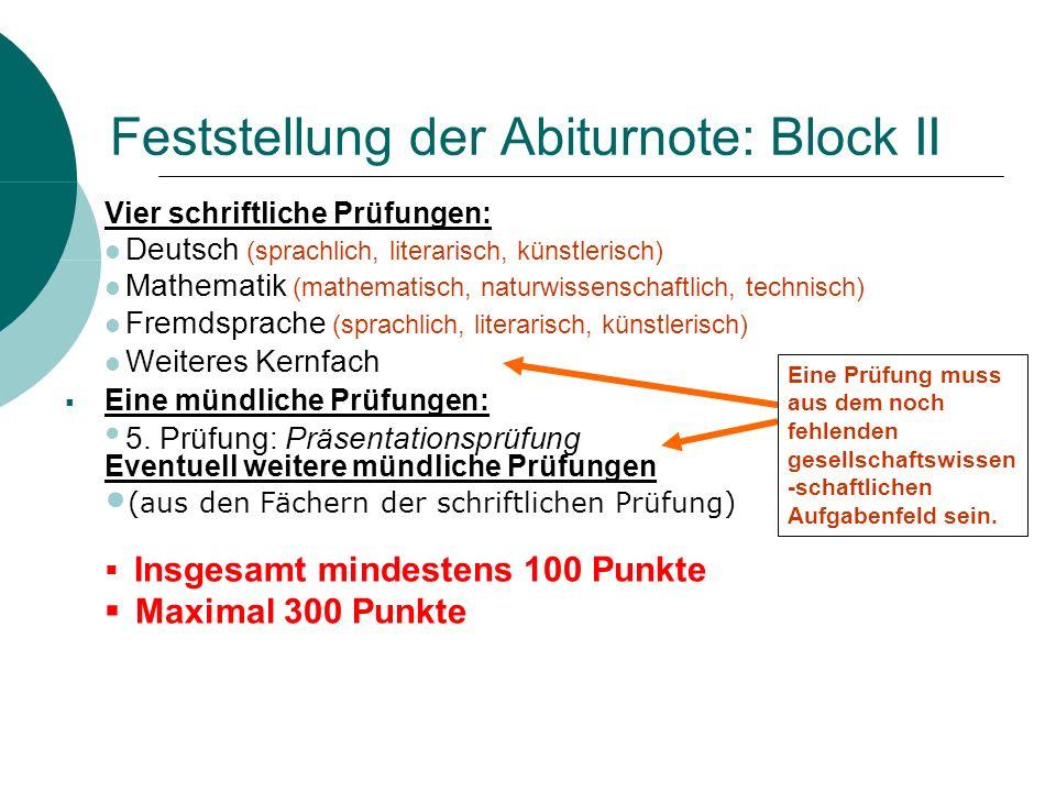 Feststellung der Abiturnote: Block II