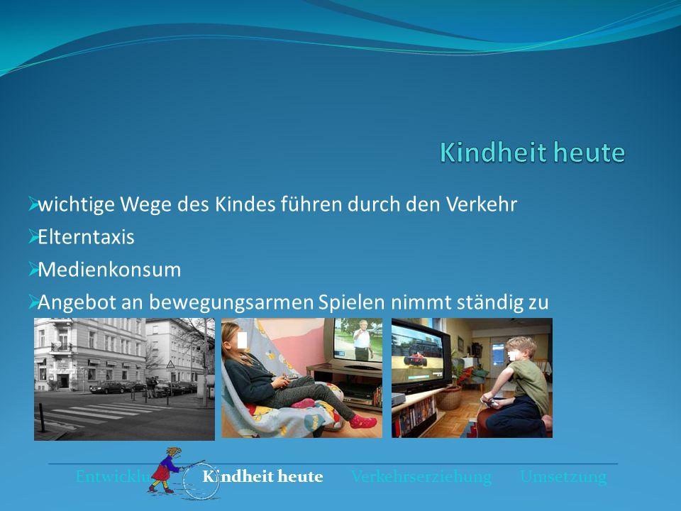 Entwicklung Kindheit heute Verkehrserziehung Umsetzung