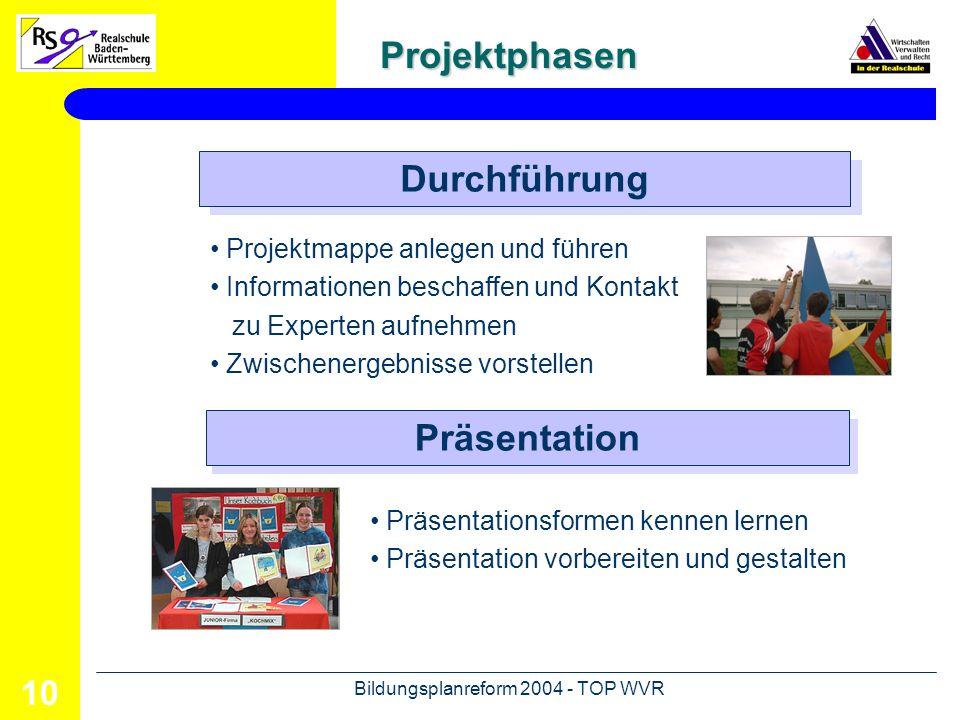 Bildungsplanreform 2004 - TOP WVR