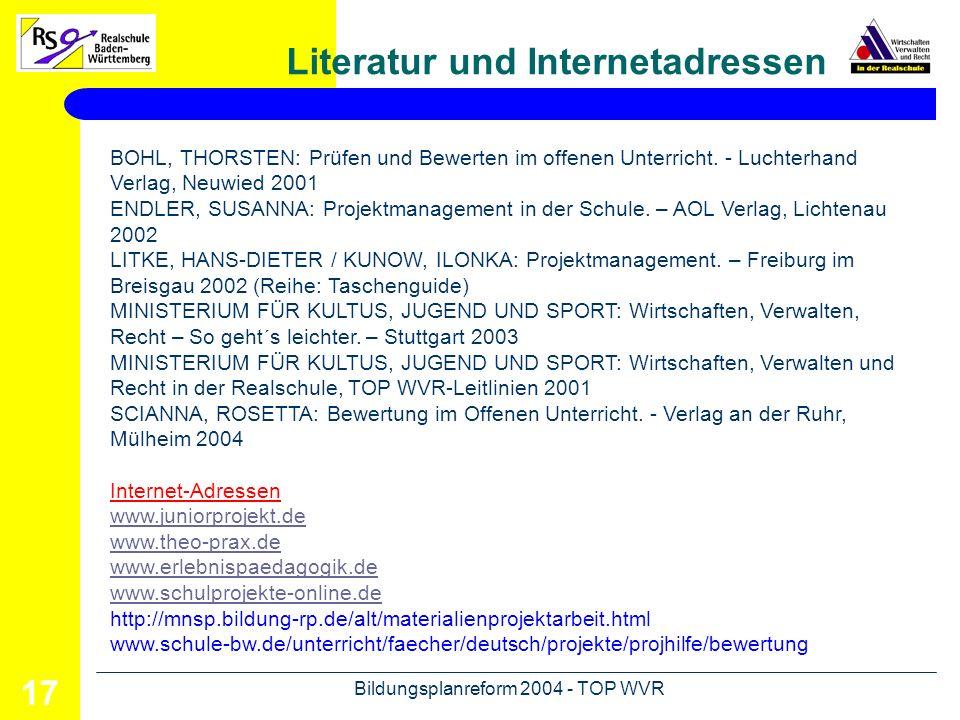 Literatur und Internetadressen