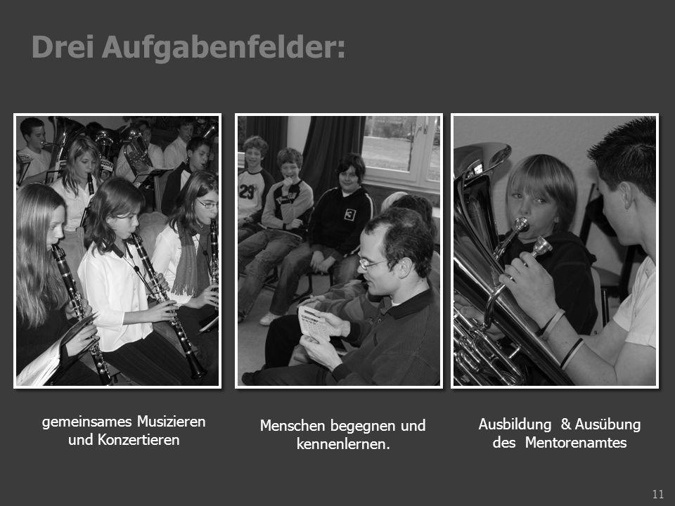 Drei Aufgabenfelder: gemeinsames Musizieren und Konzertieren