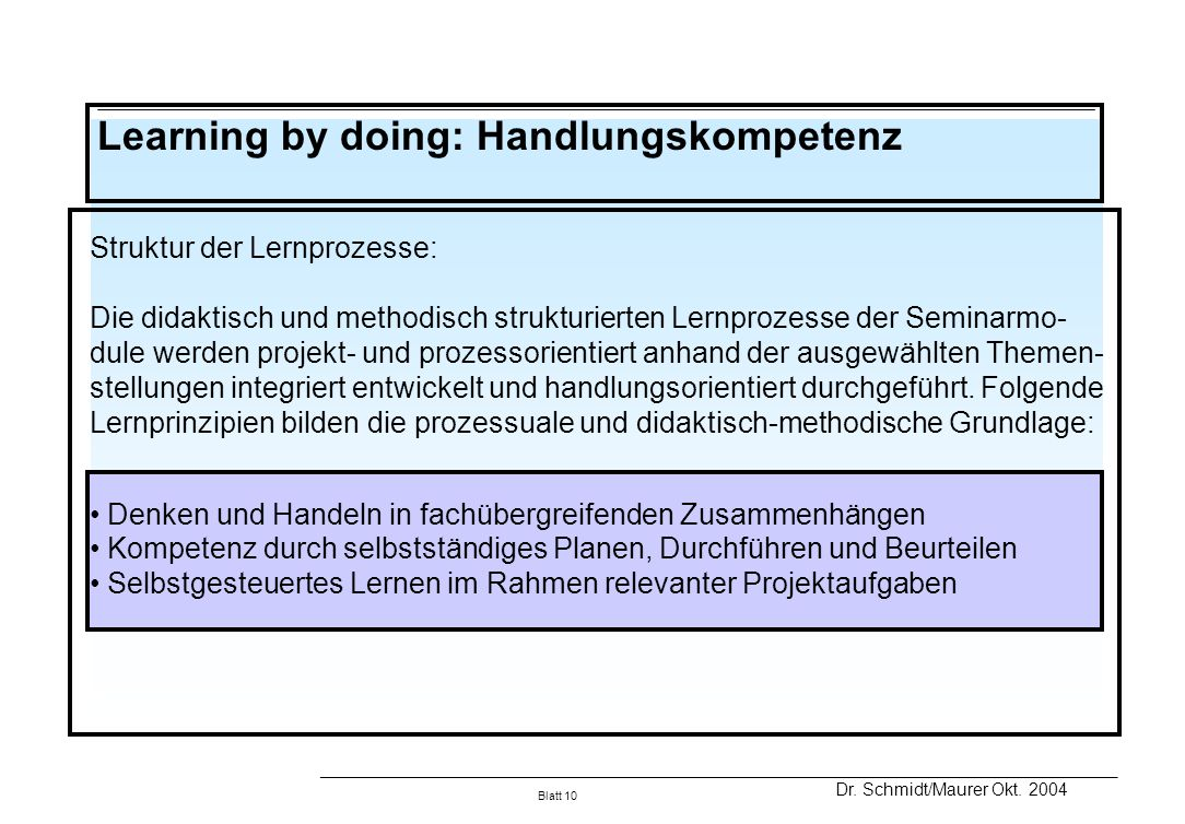 Learning by doing: Handlungskompetenz