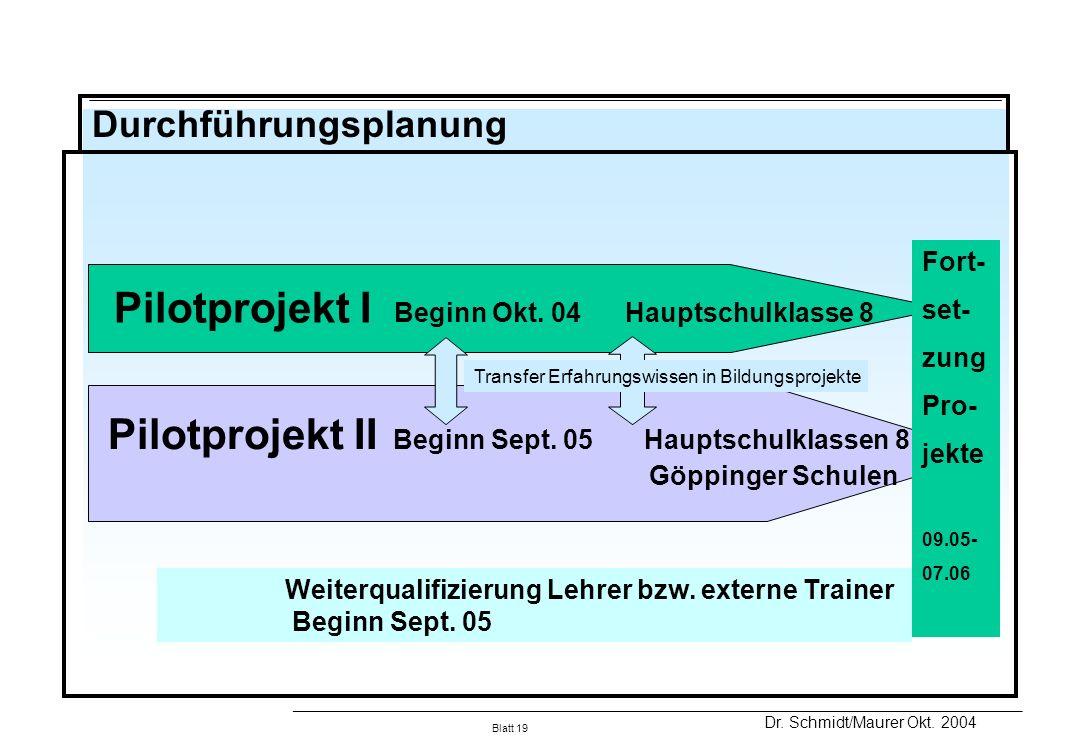 Pilotprojekt I Beginn Okt. 04 Hauptschulklasse 8
