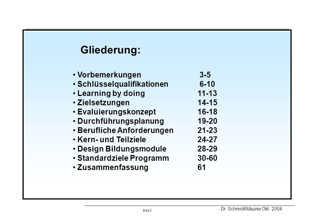 Gliederung: Vorbemerkungen 3-5 Schlüsselqualifikationen 6-10