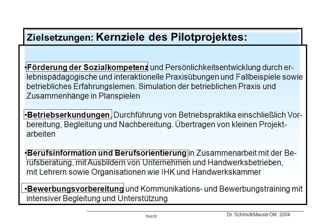 Zielsetzungen: Kernziele des Pilotprojektes:
