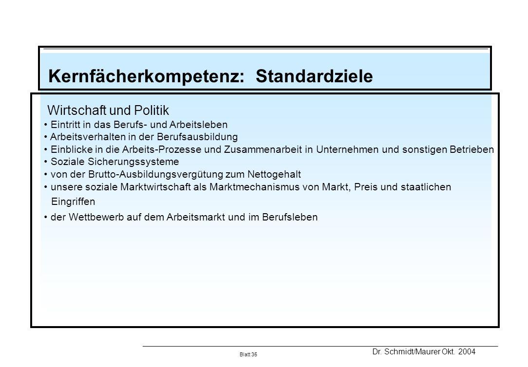 Kernfächerkompetenz: Standardziele