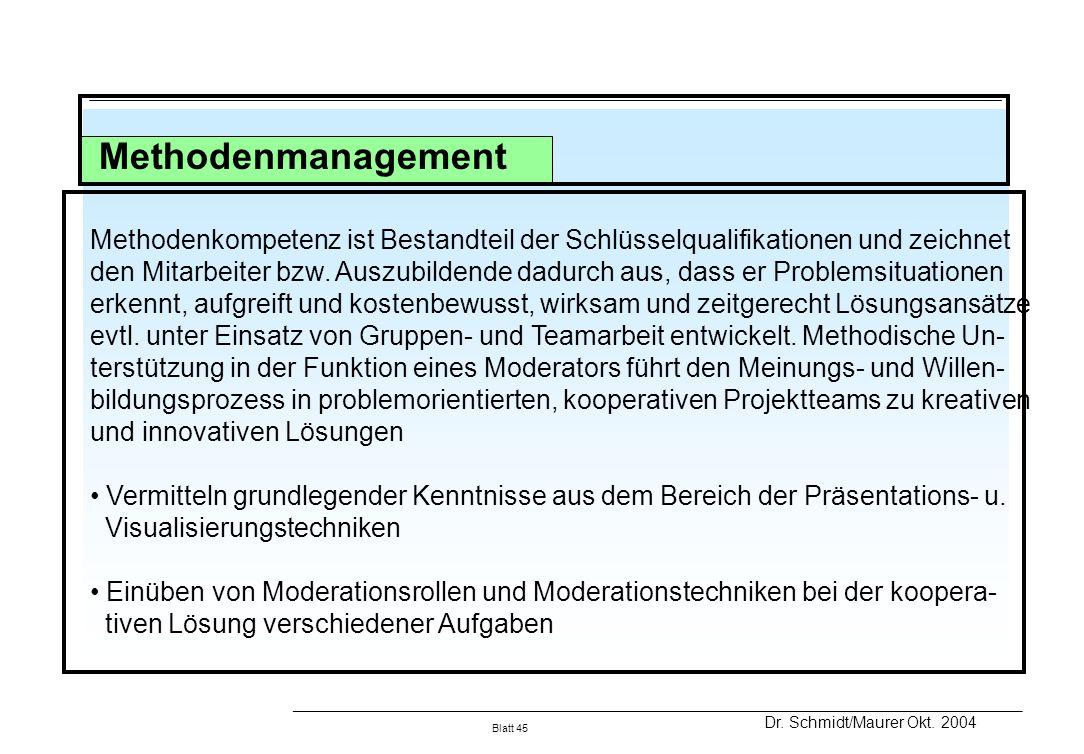 Methodenmanagement Methodenkompetenz ist Bestandteil der Schlüsselqualifikationen und zeichnet.