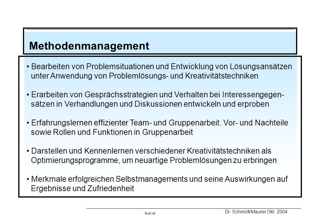 Methodenmanagement Bearbeiten von Problemsituationen und Entwicklung von Lösungsansätzen.