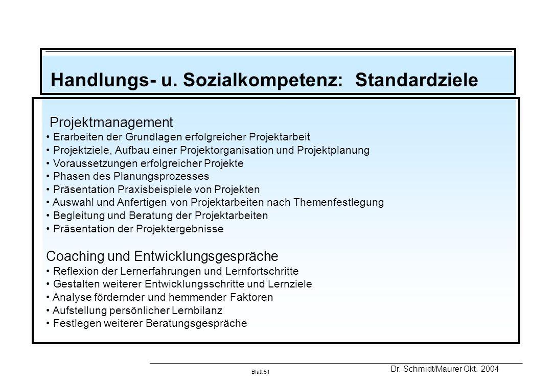 Handlungs- u. Sozialkompetenz: Standardziele