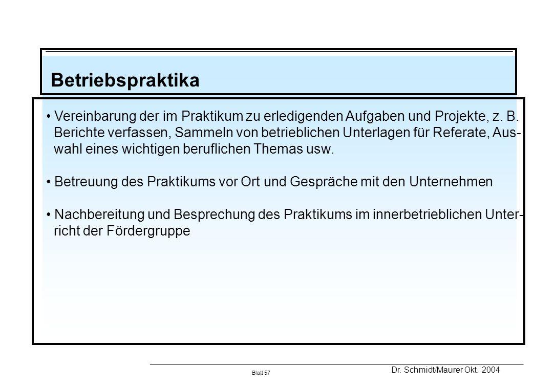 Betriebspraktika Vereinbarung der im Praktikum zu erledigenden Aufgaben und Projekte, z. B.