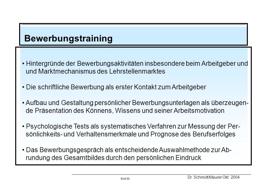 BewerbungstrainingHintergründe der Bewerbungsaktivitäten insbesondere beim Arbeitgeber und. und Marktmechanismus des Lehrstellenmarktes.