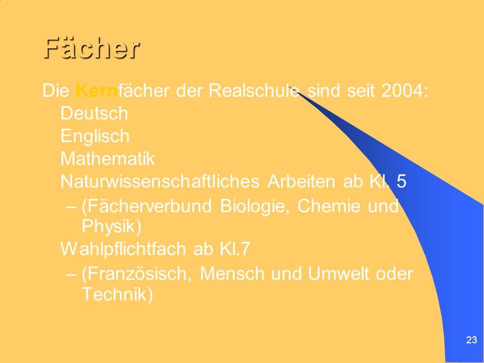 Fächer Die Kernfächer der Realschule sind seit 2004: Deutsch Englisch