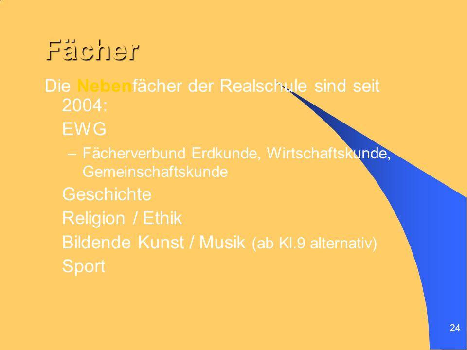 Fächer Die Nebenfächer der Realschule sind seit 2004: EWG Geschichte