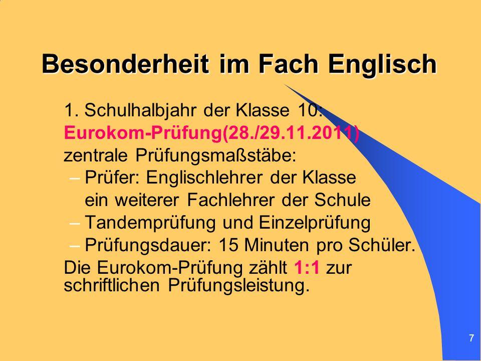 Besonderheit im Fach Englisch