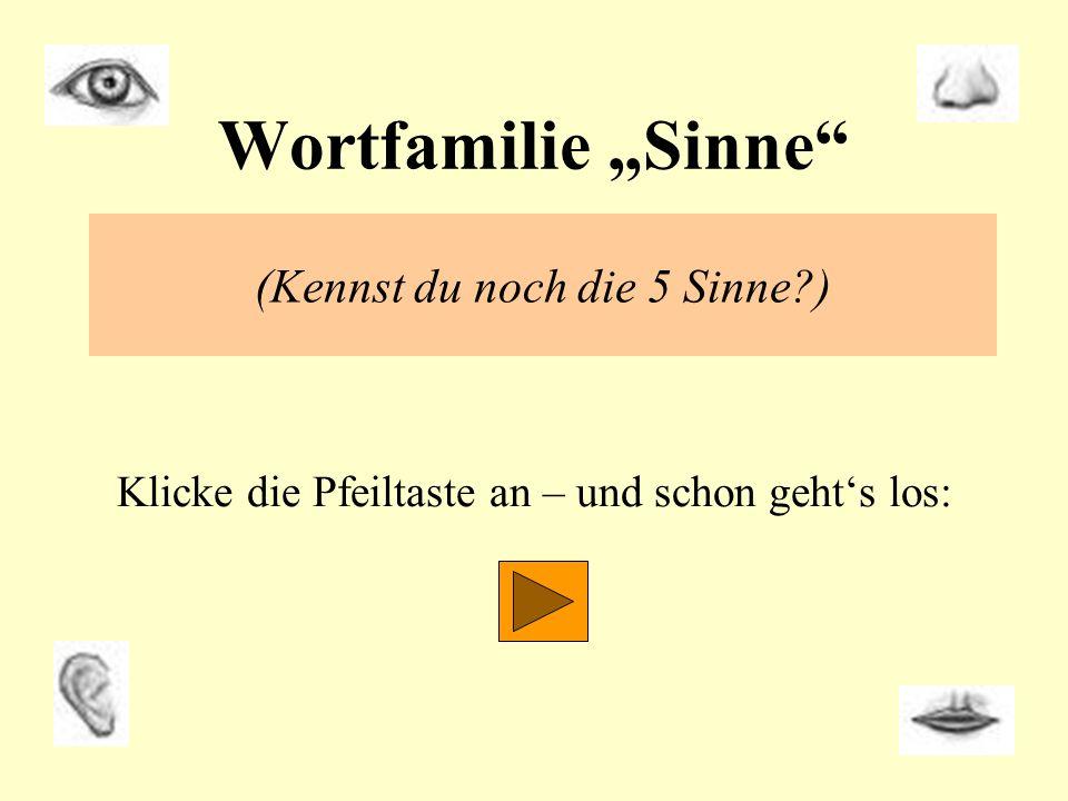 """Wortfamilie """"Sinne (Kennst du noch die 5 Sinne )"""