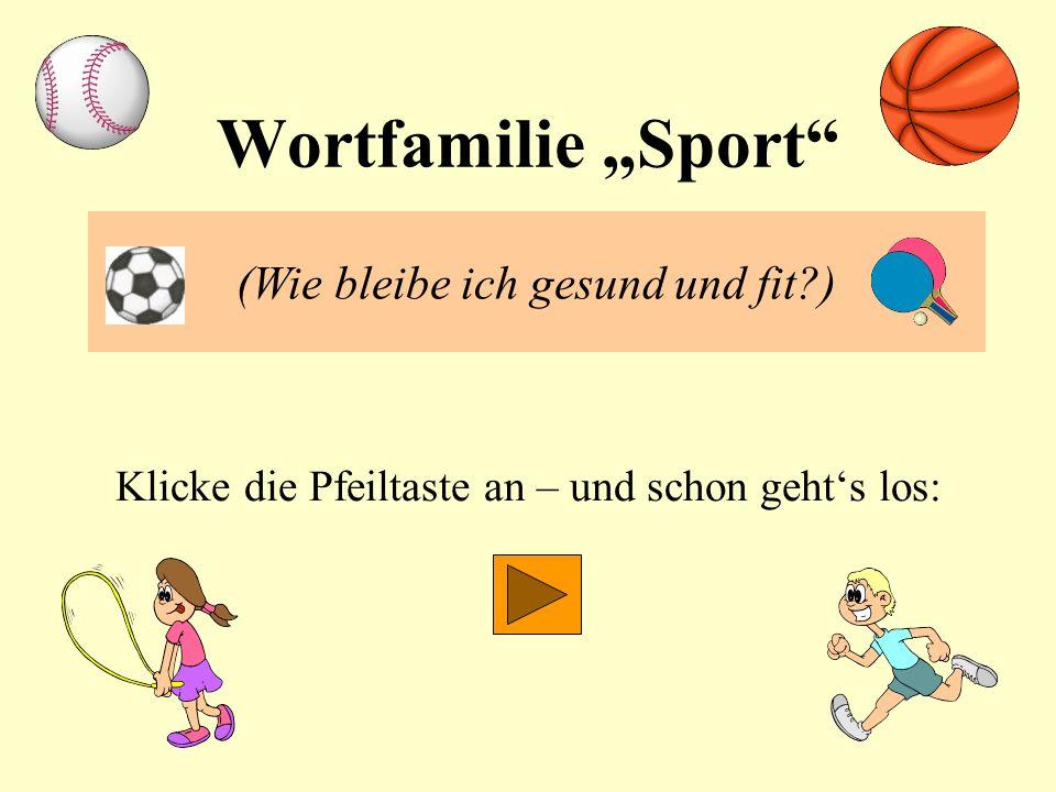 """Wortfamilie """"Sport (Wie bleibe ich gesund und fit )"""
