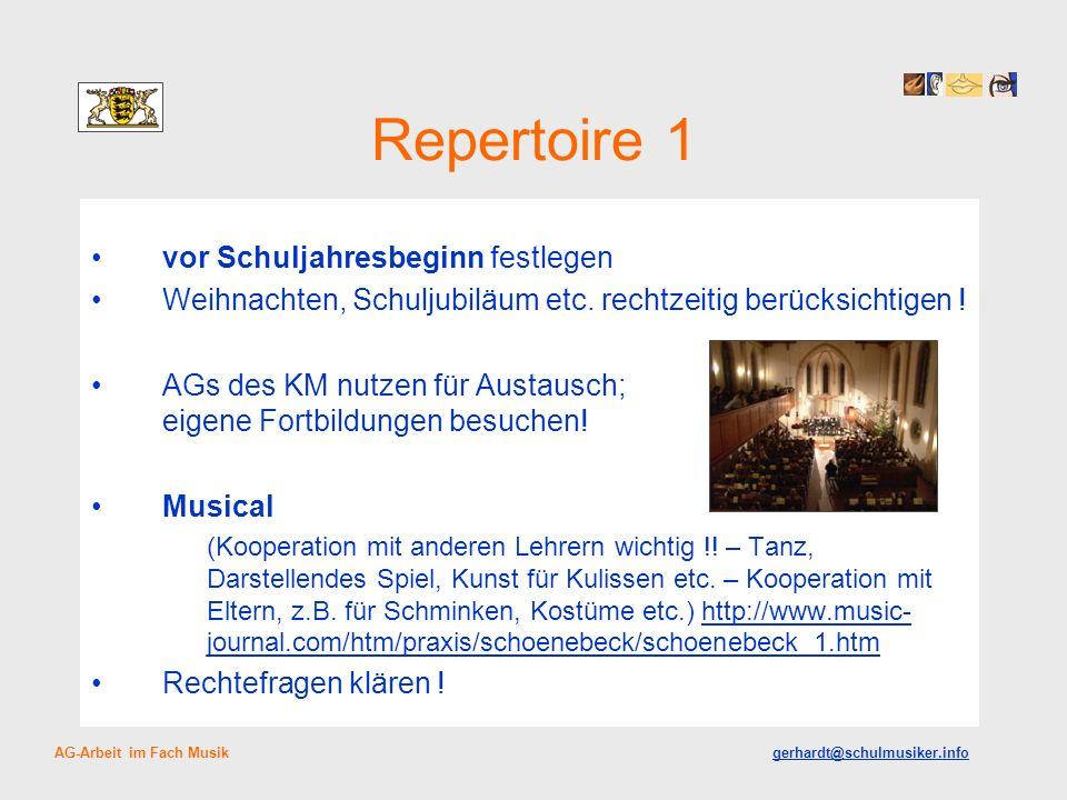 Repertoire 1 vor Schuljahresbeginn festlegen