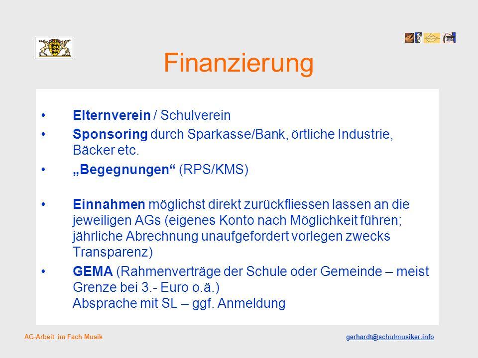 Finanzierung Elternverein / Schulverein