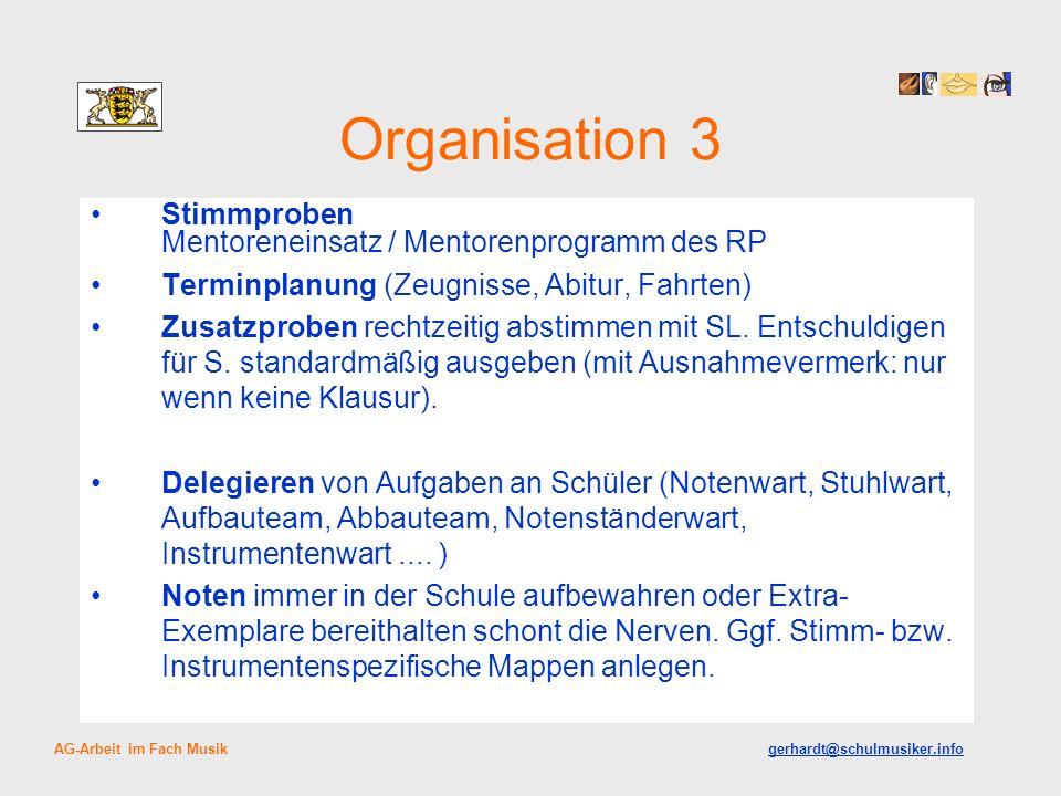 Organisation 3 Stimmproben Mentoreneinsatz / Mentorenprogramm des RP