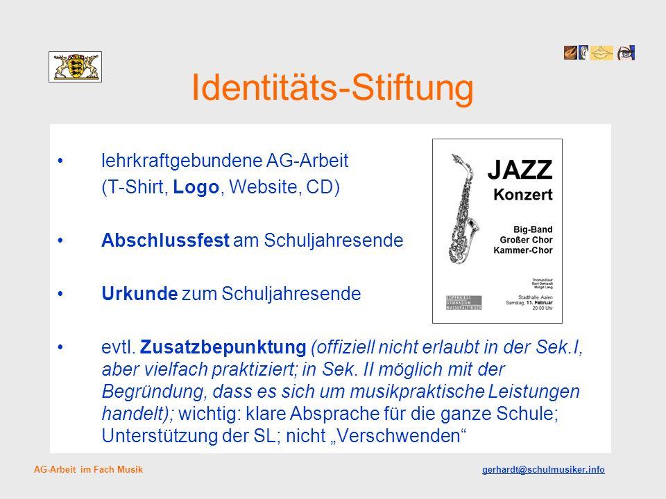 Identitäts-Stiftung lehrkraftgebundene AG-Arbeit