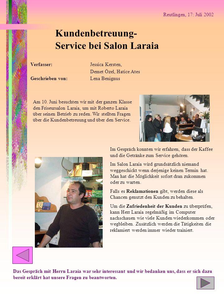 Service bei Salon Laraia