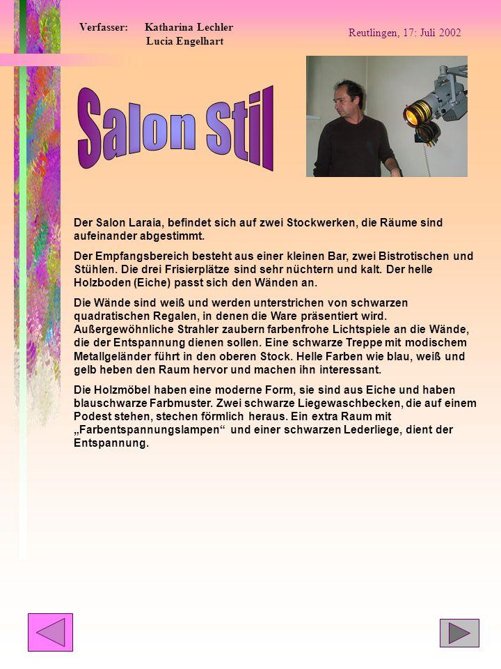 Salon Stil Verfasser: Katharina Lechler Lucia Engelhart