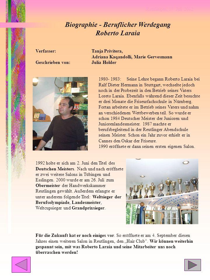 Biographie - Beruflicher Werdegang Roberto Laraia