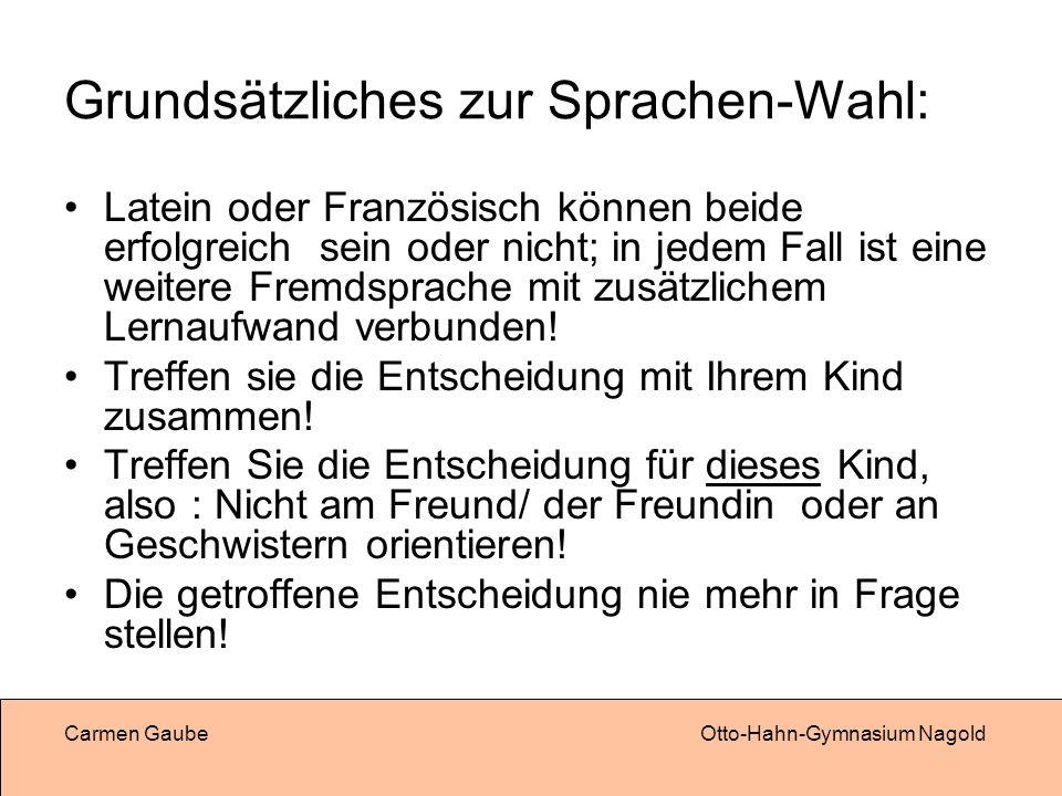 Grundsätzliches zur Sprachen-Wahl:
