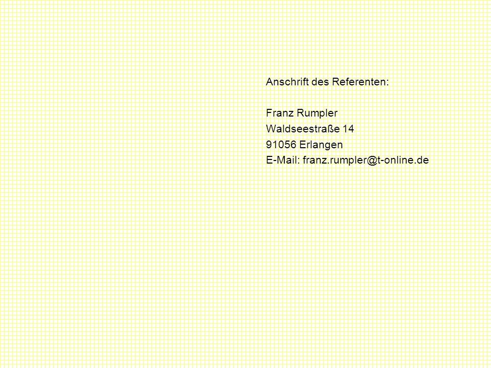 Anschrift des Referenten:
