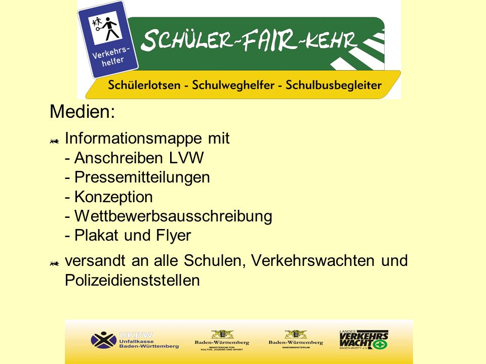 Medien: Informationsmappe mit - Anschreiben LVW - Pressemitteilungen - Konzeption - Wettbewerbsausschreibung - Plakat und Flyer.