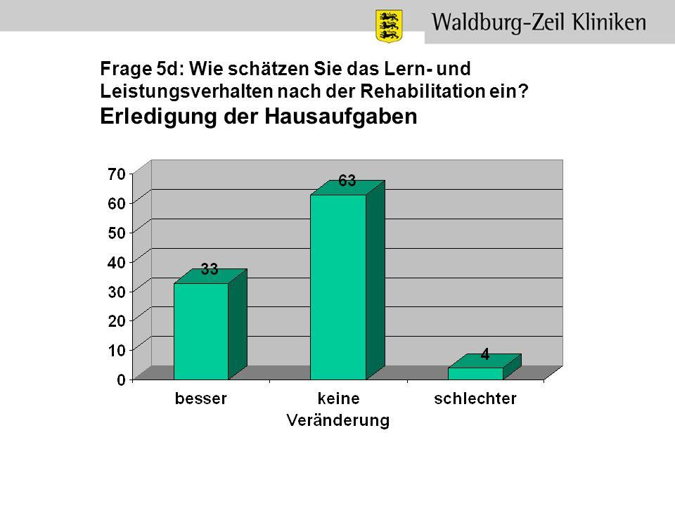 Frage 5d: Wie schätzen Sie das Lern- und Leistungsverhalten nach der Rehabilitation ein.