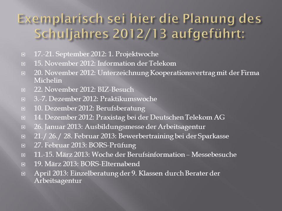 Exemplarisch sei hier die Planung des Schuljahres 2012/13 aufgeführt: