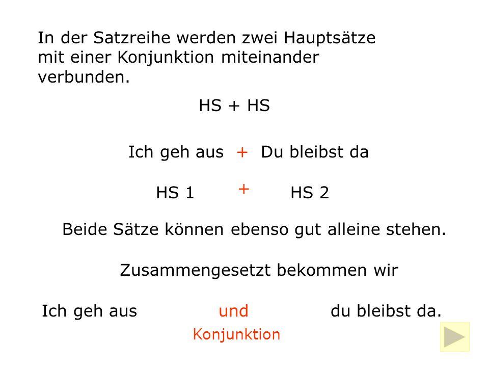 In der Satzreihe werden zwei Hauptsätze mit einer Konjunktion miteinander verbunden.