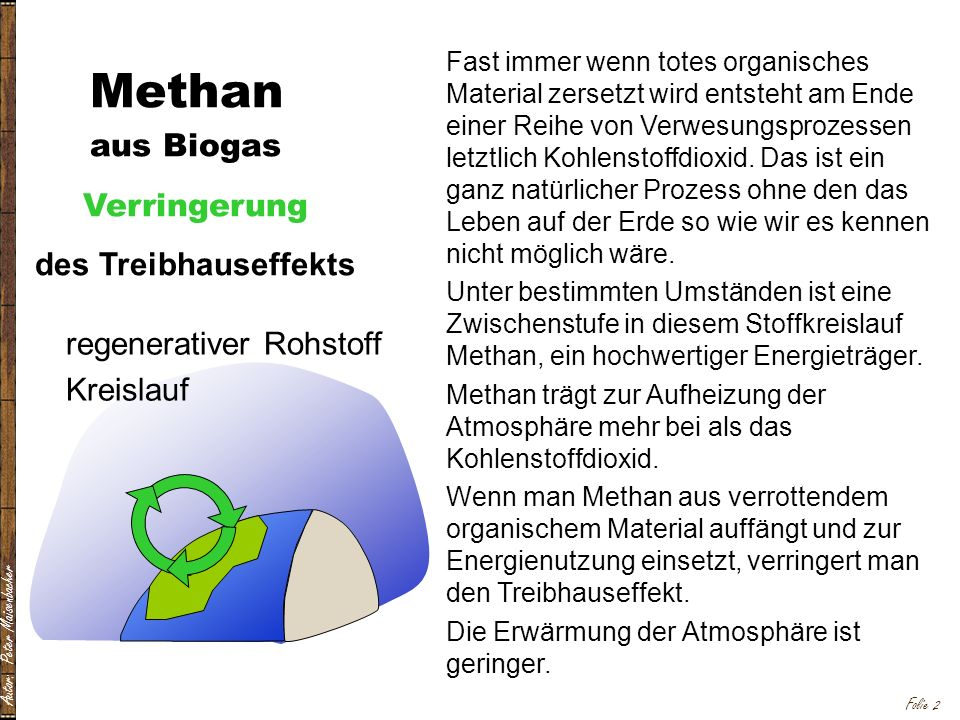 Methan aus Biogas Verringerung des Treibhauseffekts