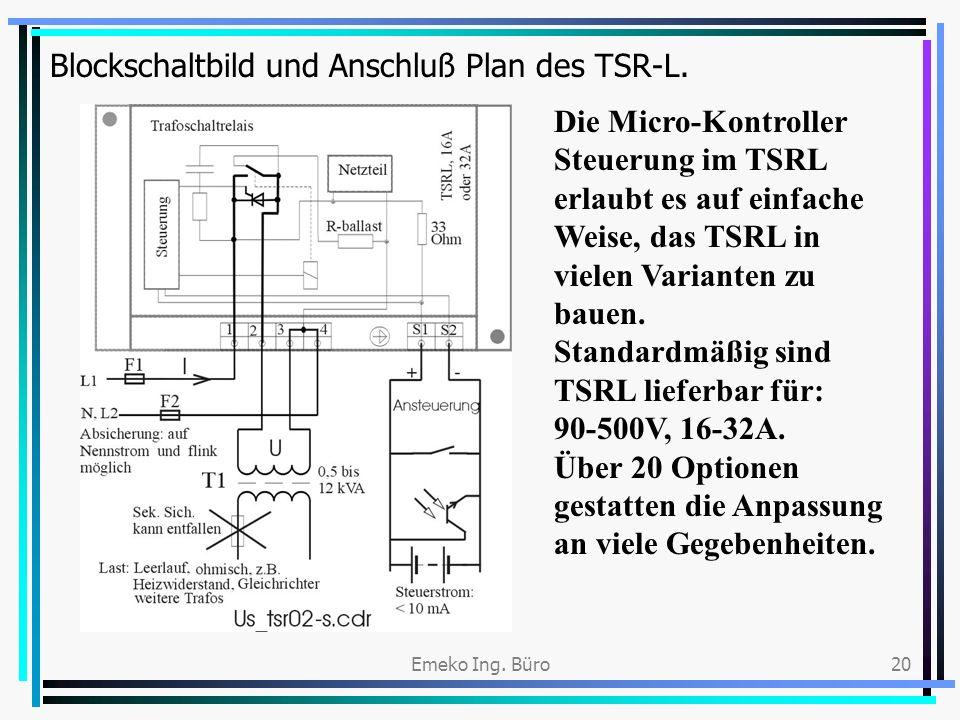 Blockschaltbild und Anschluß Plan des TSR-L.
