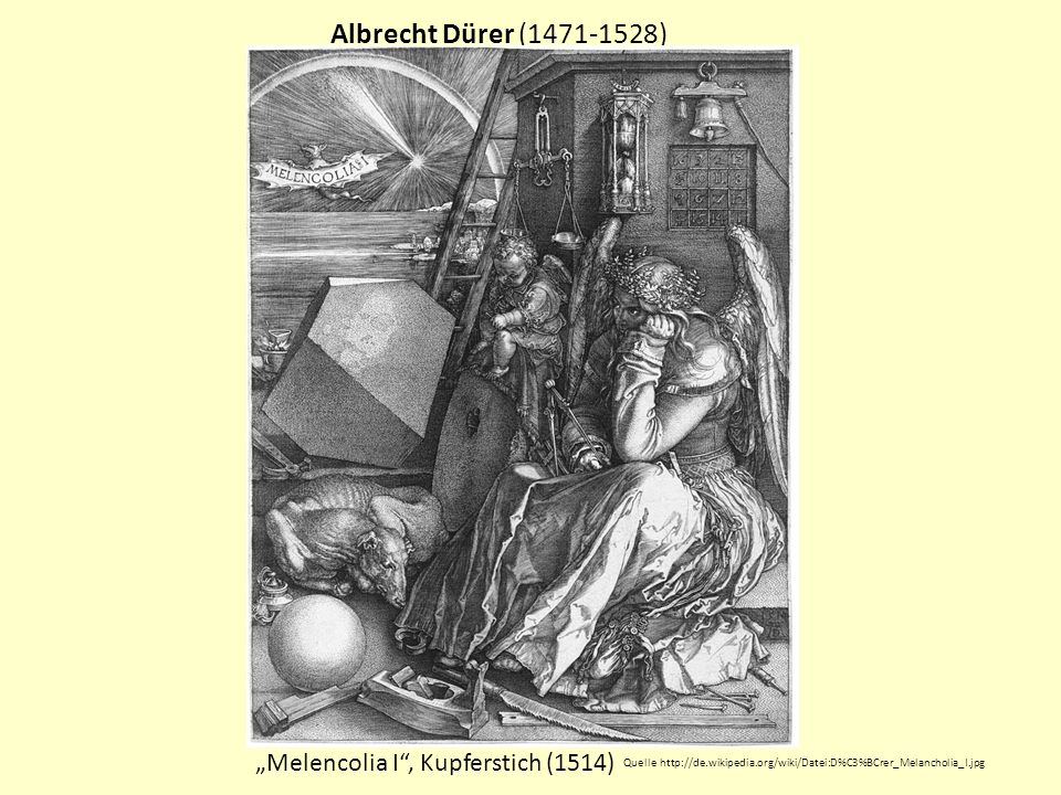 """Albrecht Dürer (1471-1528) """"Melencolia I , Kupferstich (1514)"""
