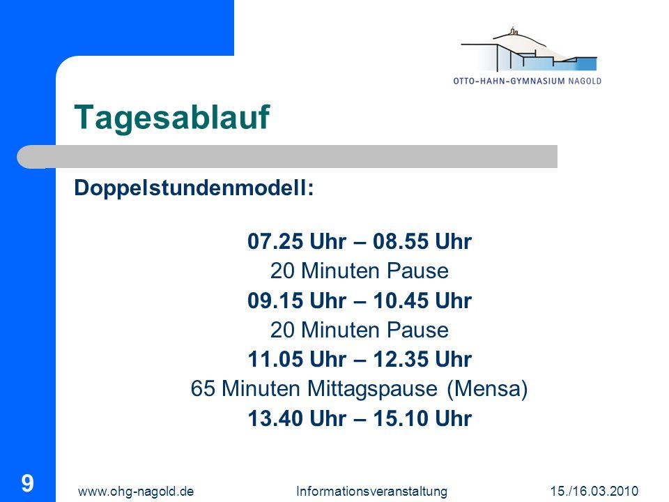 Tagesablauf Doppelstundenmodell: 07.25 Uhr – 08.55 Uhr