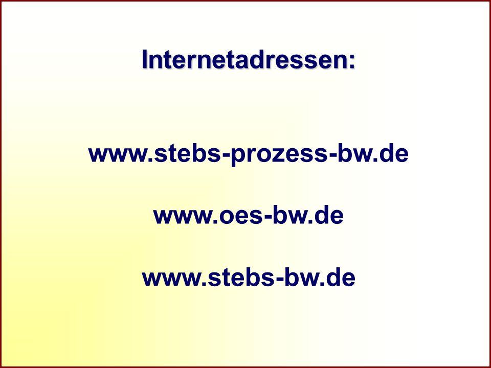 Internetadressen: www.stebs-prozess-bw.de www.oes-bw.de